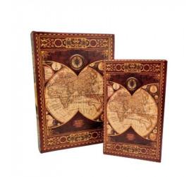 Jogo de 2 Caixas Biblioteca Livro Mundo L Hermitage 24011