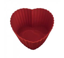 Forma de Cupcake Coração em Silicone Yazi 6 Pçs 19350 Yp1801