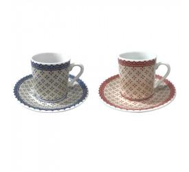 Jogo de Porcelana para Café Coffe Time 80ml 12 Peças