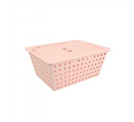 Cesta One maxi com tampa Rosa Blush Coza 108290467