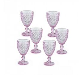 Jogo de 6 Taças p Água Quartzo Rosa Verre Mimo Style Tc19084