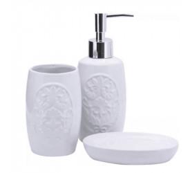 Jogo para Banheiro em Porcelana Barroco Yazi 17552 Pjb1603