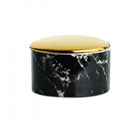 Pote Decorativo em Cerâmica Mart Preto e Dourado10627
