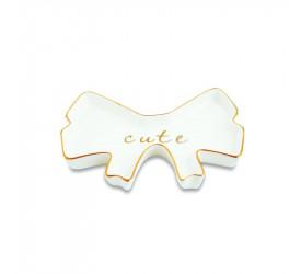 Mini Prato Decorativo em Cerâmica Mart Laço Branco 11345