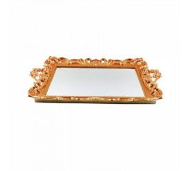 Bandeja com Espelho Decorada Dourada 41x26cm Madalozzo Baf03