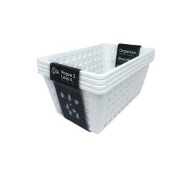 Kit Cesta Grande One Coza 4Und.Branco Brinox19,1x28,8x12,3Cm