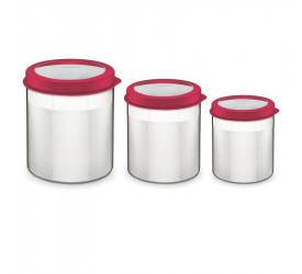 Jogo de Potes Vermelho Aço Inox Tramontina Cucina 64220622