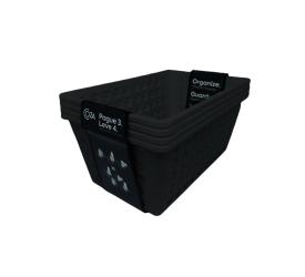 Kit Cesta Grande One Coza 4Und.Preto Brinox 19,1x28,8x12,3Cm