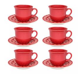 Jogo de Xícaras para Chá Oxford 12 Peças Renda J568-6404