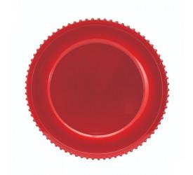 Sousplat Redondo Borda Decorada Vermelho Yangzi 14114