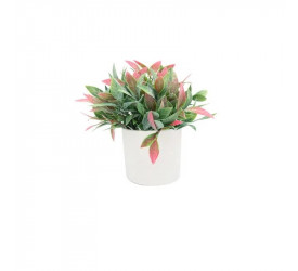 Arranjo Artificial Vaso Branco Folhagem Mix Yangzi 20582