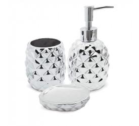 Conjunto de Banheiro Abacaxi Prata Mimo Style Bh1780p