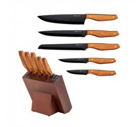 Jogo de 5 Facas Hanzzo Wood em Aço Inox Fracalanza 25574