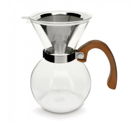 Passador de Café em Vidro C/Alça Madeira Mimo Style Vd20031