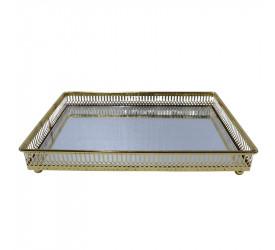 Bandeja Marrocai Retang. C/Espelho e Ferro Cor Dourada 26846