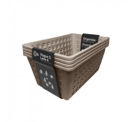 Kit Cesta Grande One Coza 4Und. Warm Gray 19,1x28,8x12,3Cm