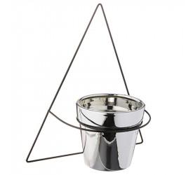 Vaso em Cerâmica com Suporte de Parede Mart Prata 09506